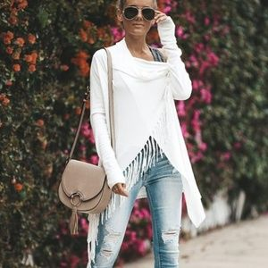 Women's White Boho Chic White Fringed Sweater XL
